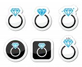 Wedding, Diamond engagement ring icon