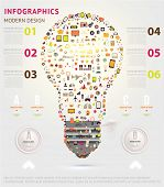 Icons light bulb. Business infographic template. Diagrams and icons set. Numbered banners. Minimal s