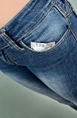 foto of condom use  - use condom condom in blue jeans pocket - JPG