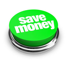 stock photo of save money  - A green button with the words Save Money on it - JPG