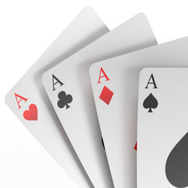 picture of unicity  - 3d render of four aces  isolated on a white background - JPG