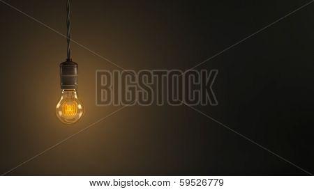 Vintage Hanging Light Bulb Over Dark Background poster