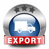 stock photo of export  - export blue icon international trade logistics freight transportation world economy exportation of products - JPG