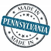 Made In Pennsylvania Blue Round Grunge Isolated Stamp