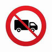 foto of truck-stop  - No Delivery truck sign icon - JPG