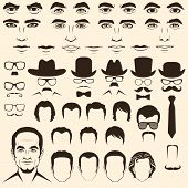 image of bowler hat  - vector men eye, nose,  hair and lips 