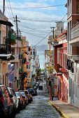 SAN JUAN, PUERTO RICO - JAN 7: Old street in downtown on January 7, 2013 in San Juan, Puerto Rico. S