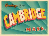 Vintage Touristic Greeting Card - Cambridge, Massachusetts - Vector EPS10. Grunge effects can be eas