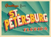 Vintage Touristic Greeting Card - St. Petersburg, Florida - Vector EPS10. Grunge effects can be easi