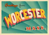 Vintage Touristic Greeting Card - Worcester, Massachusetts - Vector EPS10. Grunge effects can be eas