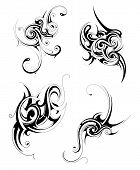 image of maori  - Set of graphic design elements in various tribal styles - JPG