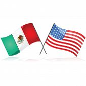 stock photo of texas state flag  - Glossy illustration showing the flag of Mexico beside the flag of the United States of America - JPG