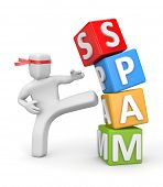 stock photo of spam  - Kicking SPAM - JPG