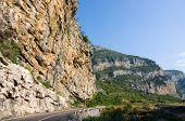 rockface near Podgorica on the road to Kolasin and Zabliak in Montenegro  poster