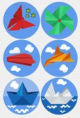 Постер, плакат: Origami flat set