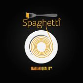 picture of spaghetti  - spaghetti pasta plate fork menu background - JPG
