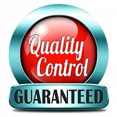 Quality control label or sticker 100% guaranteed warranty and top product survey red icon or button