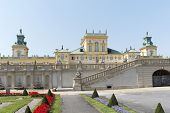 WARSAW, POLAND - AUGUST 8: Summer view of Wilanow Royal Palace on Aug 8 2013. The palace was built i