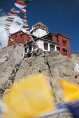 pic of jammu kashmir  - Namgyal Tsemo Gompa with prayer flags  - JPG
