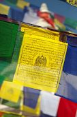 foto of mantra  - Buddhist Prayer flags with mantras and symbols - JPG