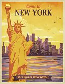 Travel to New York Poster - Vintage travel advertisement with New York City and Statue of Liberty ag