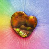 stock photo of agate  - Rainbow Fire Agate with a Heart Shape - JPG