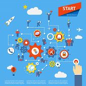 stock photo of entrepreneurship  - Start business process diagram infographics vector illustration - JPG
