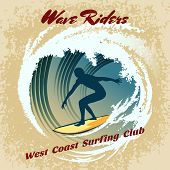 ������, ������: Wave Riders vector surfing label