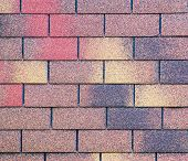 picture of shingles  - Architecture detail of a colorful shingled roof - JPG