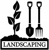 picture of garden-art  - black landscaping icon with sprout and gardening tools silhouette - JPG