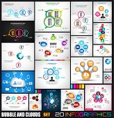 stock photo of diagram  - Collection of 20 Infographics with bubbles and clouds - JPG