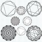 stock photo of dodecahedron  - A set of Dodecahedron drawings at varying stages - JPG