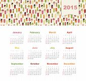 foto of eskimos  - Calendar 2015 year with colored ice cream vector - JPG