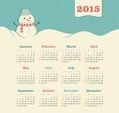 stock photo of snowman  - Calendar 2015 year with snowman vector - JPG