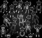stock photo of sock-monkey  - Vector Collection of Cute Doodle Chalkboard Sock Monkeys - JPG