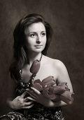 Portrait With A Bouquet poster