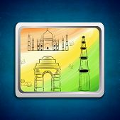 stock photo of qutub minar  - Stylish painting with Indian famous monuments Taj Mahal - JPG