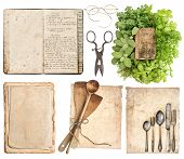 stock photo of grandma  - Old wooden kitchen utensils antique cookbook aged paper pages and herbs isolated on white background - JPG