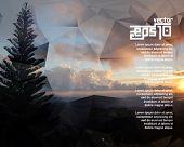 stock photo of pamphlet  - eps10 vector realistic sunrise background - JPG