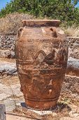 stock photo of minos  - One of giant pithoses from Malia Crete Greece - JPG
