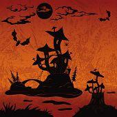stock photo of magical-mushroom  - Holiday Halloween landscape with magic mushroom castle on the marsh island - JPG
