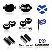 image of haggis  - Vector icons set of food from Scotland isolated on white - JPG