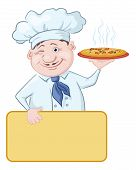 stock photo of chef cap  - Cartoon cook  - JPG