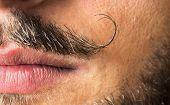 stock photo of beard  - Curled and sexy mustache close up with sexy lips and beard - JPG
