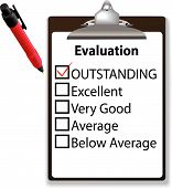 stock photo of check mark  - An evaluation for job performance red check mark in the OUTSTANDING box with clipboard and ink pen - JPG