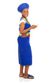 picture of zulu  - pretty african zulu woman using smart phone isolated on white - JPG