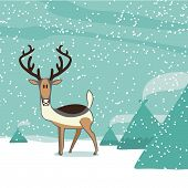 image of north-pole  - A cartoon reindeer at the North pole - JPG
