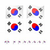 picture of south east asia  - Set of flags of South Korea eps 10 - JPG