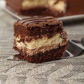 stock photo of chocolate fudge  - A chocolate fudge layer cake - JPG