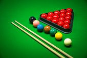 image of snooker  - snooker balls set on a green table - JPG